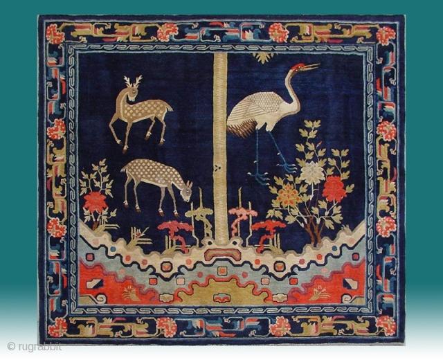 "No.R163 * Chinese Antique ""Deer + Crane"" Temple Rug, Age: Late 19th Century.Size: 180x198cm (5'11""x6'6"").Origin: Baotou-Suiyuan. Shape:Square. Background Color: Blues."