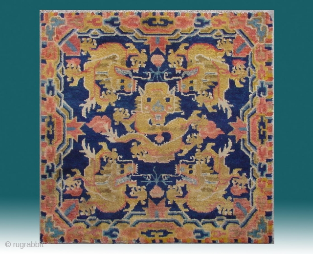 """No.CL065 * Chinese Antique Ningxia Rugs-Mat """"Five Dragons"""" from Tibet. Size:69x69cm(27""""x27""""). Age:19th Century. Origin:Ningxia. Shape:Square. Background Color:Blues."""