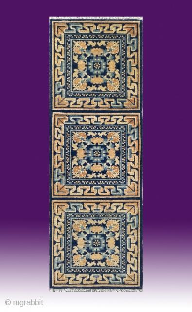 """No.0303 * Chinese Ningxia Mat-Rugs(Runner). Origin: Ningxia . Age: 19th Century. Size: 60x174cm(2'x5'9"""").Shape: Rectangle. Background Color: Yellow and Blues."""