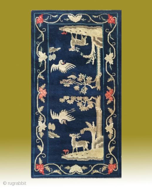 """No.R013 * Chinese Antique """"Crane + Deer"""" Rug , Age: 20th Century. Size: 76x138cm(30""""x54"""").Origin: Baotou-Suiyuan.Shape: Rectangle. Background Color: Blues"""