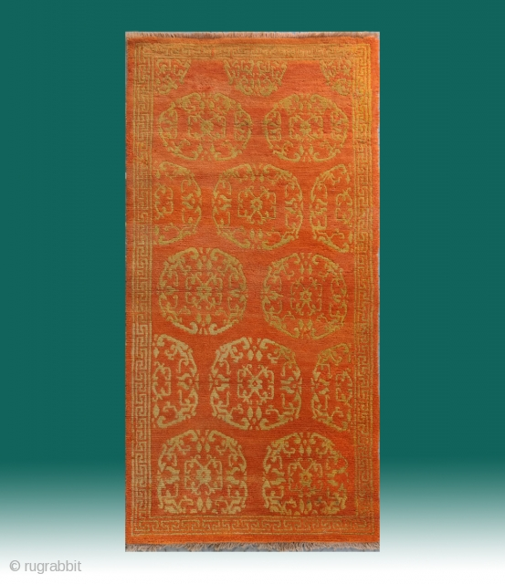 "No.A0002 * Tibetan Antique "" Medallion"" Rug ,  Size: 86x171cm(2'10"" x 5'7"").Origin: Tibetan.Shape: Rectangle ,wool/wool. Background Color: Oranges , This rug features a strict medallion pattern. The medallions are comprised of  ..."