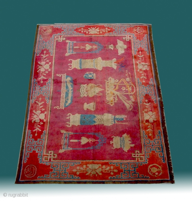"No.R022 * Chinese Antique ""Vase Design"" Rug,Age:19th Century.Size: 136x219cm(4'6""x7'2"").Origin: Baotou-Suiyuan.Shape: Rectangle.Background Color: Reds.