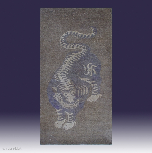 "No.X0022 * Chinese Antique ""Tiger"" Rug. Age: 19/20th Century.Origin: Baotou. Shape: Rectangle. Size: 82x151cm (32""x59"")"