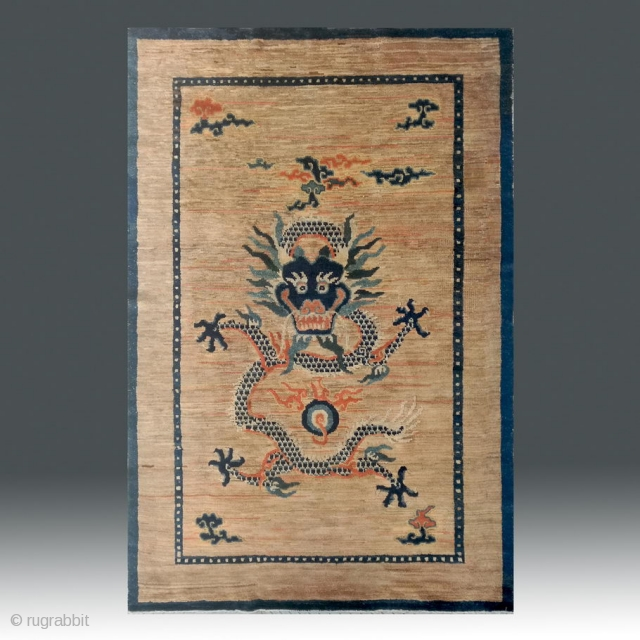 "No.X0028 * Chinese Antique ""Dragon Face"" Old Beijing Rug-Carpet. Age:19th Century.Size: 153x225cm(5'1""x7'5"").Origin: Beijing. Shape:Rectangle."