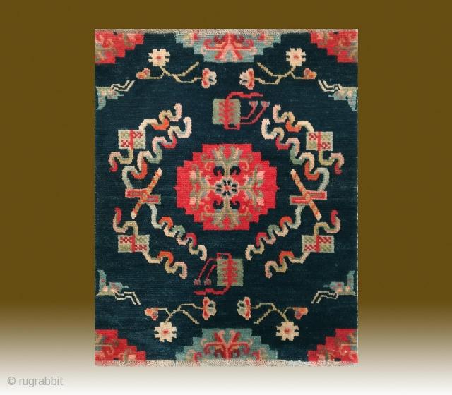 "No.CL002 * Tibetan Antique ""Eight Treasure Pattern"" Rug/Mat. Size:57x72cm(22x28""). Origin: Tibet. Shape: Rectangle.Background Color: Blues. wool/wool."