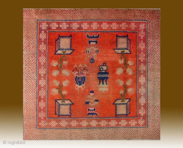 "No.R041 * Chinese Antique Temple Rug. Age:19th Century.Size:146x153cm(4'9""x5').Origin: Baotou-Suiyuan.Shape: Square. Background Color: Reds"