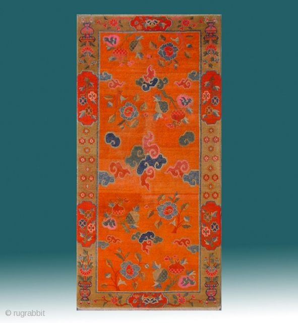 "No.R107 * Tibetan Antique ""Clouds and The Three Fruits "" Rug. Early-20th Century. Size: 90x180cm ( 2'11"" x 5'11"" ).Origin: Tibetan.Shape: Rectangle. Background Color: Oranges. cotton/wool.