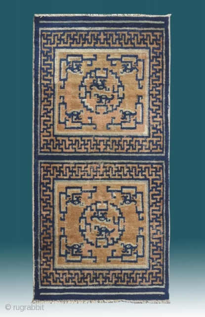 "No.L35 * Chinese Ningxia  ""Dragon"" Mat-Rugs(Runner). Origin: Ningxia Shape: Rectangle Age: 19th Century. Size: 73 x 148cm( 29"" x 58"" ).Background Color: The Wood Reds. Material: 100% Wool Woven: Hand-knotted"