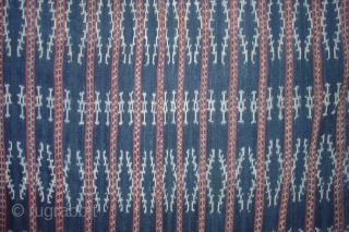 "Savu Ikat Selimut (Indonesia: Lesser Sunda Islands) Handsome rendering of diamond pattern in medium rough handspun cotton with natural dyes. Roughly 40""x70"" plus fringes. Mid 20th century or older. One small dime  ..."