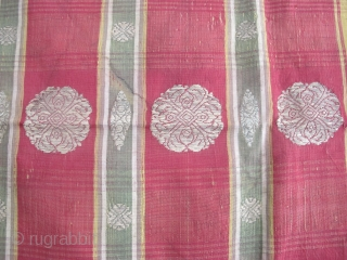 Rare Russian Silver Brocaded Silk Ikat Kavanat, 1.10m x 1.17m ( 3ft 7 inches x 3ft 9 inches). This beauty dates to around 1800 and was probably part of a wedding shawl  ...