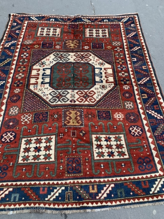 Karachov Kazak Rug 2.08m x 1.64m, last quarter of 19th century. Great colours and design. Some old repairs but generally in good condition.