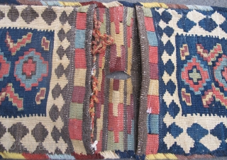 "19th century Shahsavan Kilim Technique Bags 54cm x 26cm (1'10"" x 11""), All good dyes, complete."