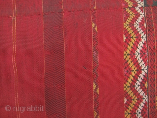 """Burmese Antique Textile: Fine and rare Jinghpaw (aka Jingpo in China) """"pukhang"""" heirloom wrap around skirt from Burma's northern most state of Kachin. This piece is woven in three panels from two  ..."""
