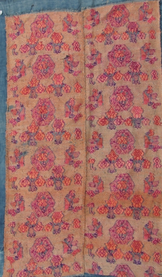 Mulao Wedding Blanket: Fine old silk brocade supplementary weft embroidered on cotton backing from the Mulao ethnic group, Guizhou, China- circa early 20th CE with phoenix and floral pattern. L: 109cm/42in and  ...