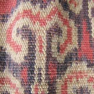 Lovely Iban woman's skirt from the Kapit region in Sarawak, circa 1940-1950. The broad center field is woven from handspun cotton and natural dyes. The red used in this is particularly rich.  ...