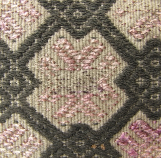 Chinese Minority Textile: Antique wedding blanket, circa late 19th CE/early 20th CE, from the Miao ethnic group, Antai District, Guangxi , China. This is tightly woven in three panels, from very fine  ...