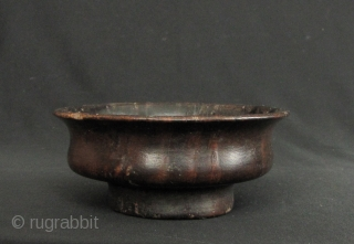 """Tibetan yak butter tea """"po cha"""" or barley beer """"chang"""" bowl carved from burlwood, possibly Rhododendron circa 50 to 100 years old. D:11.8cm/4.6in and H: 5cm/1.9in, there is one worn chip on  ..."""