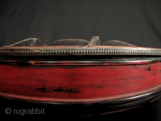 Khmer Betel Box:   Nice old red and black lacquered Cambodian Siri (betel) box container. This has the original small feet on the bottom, very difficult to find these days. There is  ...