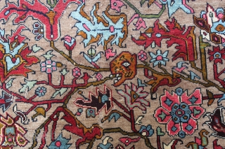 """Stunning Bijar Vaghireh with vaq-vaq pattern, woven on a wool foundation.  Size is 250 x 130 cm (8'3"""" x 4'3""""). Full lustrous pile but with scattered areas of moth damage, including  ..."""