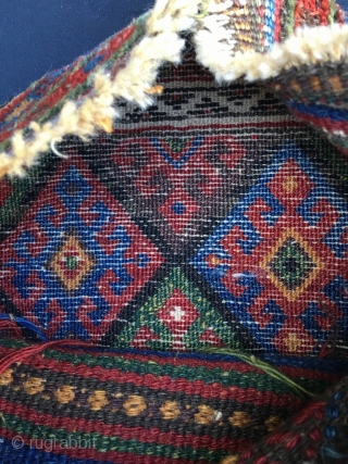 Sweet and playful Jaf chanteh (small bag), unusual small size. Nice tight and seldom seen border set. Deeply patinated, saturated colors. One of those pieces that when handled, make it very clear  ...