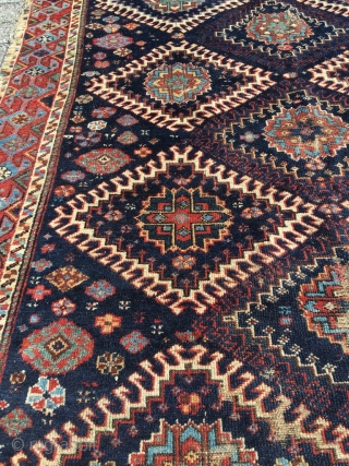 Shahsavan rug deep from the 19th century. Flax like weft. Gorgeous border and drawing. Best colors and wool (no exaggeration). Pre-commercial tribal rug. Size  81.1 x 59 (206 x 150 cm).  ...