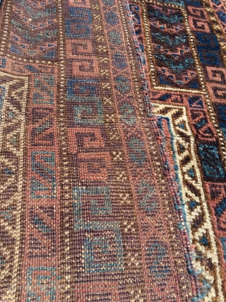 Antique Kordi Baluch prayer rug. Soft wool, nice old colors, still fresh. As found. Very supple handle because of typical Kordi double wefts. Excellent condition, original selve-edges and kilim ends. Happy little  ...