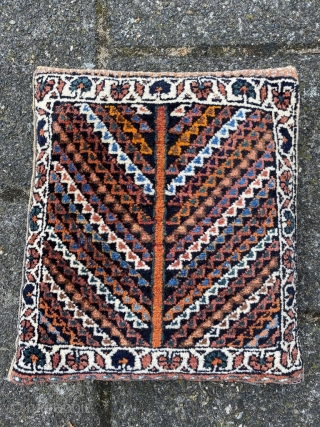 NWP chanteh. Gabbeh style wool on cotton. Made into a cushion, can be undone at the top. Original selvedges. Size 12.6 x 7 inch (32 x 18 cm). Good wool and colors.  ...
