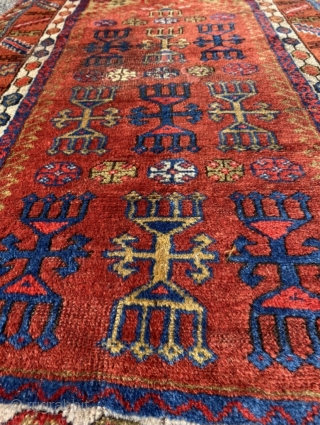 Anatolian prayer rug, 19th century. Intriguing mix of totemic animism and Islamic iconography. Glorious colors and wool. Good condition. Size 58.3 x 33.5 inch (148 x 85 cm). You may contact me  ...
