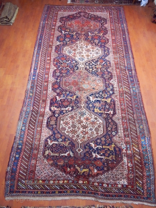 Antique Qashqaii Khamse Rug Mid Old Restorations 