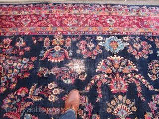 "rare blue field antique lillihan sarouk rug measuring 8' 10"" x 12' 6"" good condition some worn area solid rug no holes no dry rot clean no pets and no smoke 975.00  ..."