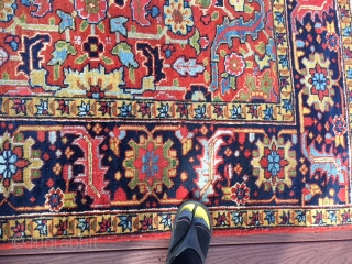 """authentic signed persian heriz rug measures 5' 7"""" x 8' 9"""" great rare size beautiful colors great condition minor surface wear in the middle and few minor moth bite on the side  ..."""
