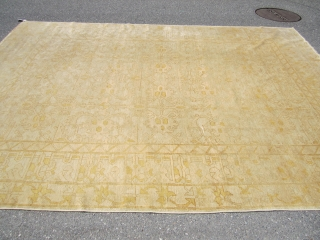 """signed vintage oushak turkisk rug 8' 11"""" x 12' 3"""" very good condition clean no pets and no smoke and no stain cheap money big profit everything sells here 985 plus shipping.SOLDDDDDDDDDDDDDDDDDDDDDDDDDDDDDDDDDDDDDDDDDDD"""