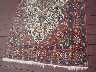 """very nice semi-antique persian tabriz rug measuring 4' 7"""" x 7' 3"""" great quality even pile not worn some fading great piece very reasonable very clean.685.00 plus shipping"""