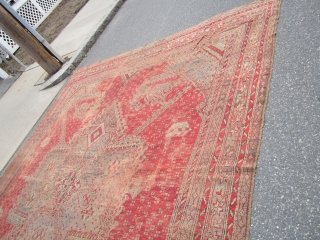 "solid beautiful antique turkish ushauk rug 11' 7"" x 14' damaged corner worn with few holes no dry rot no pets  beautiful colors easy restoration for huge profit can send more  ..."