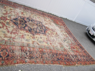 """antique oversize serapi heriz rug worn condition beautiful colors has been cleaned no dry rot 2 big holes and 3 tear in one side easy restoration for huge profit measures 11' 7""""  ..."""