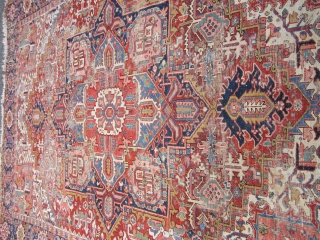 "nicely worn persian heriz serapi rug measuring 8' 10"" x 11' 4"" great colors wear as shown one end needs work very supple no dry rot no animal well made very reasonable.  ..."