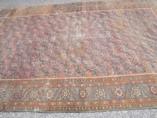 """antique oriental rug looks to me like turkish but not sure maybe mahal gallery size 7' 6"""" x 14' 8"""" solid rug no holes some low pile visible foundation and some old  ..."""