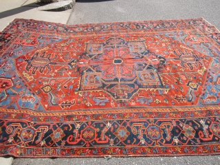 "antique karaja heriz oriental rug measuring 7' 11"" x 11' great condition couple of minor issue as shown solid rug great even low pile  clean no pets and no stain 2300  ..."