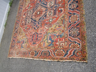 """antique heriz serapi can't get better color than this great galat design rare size 7' 7"""" x 9, 6"""" one ends are in poor condition not your typical cemetrical design wear as  ..."""