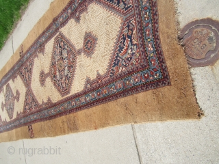"""antique classic design sarab runner measuring 42"""" x 190"""" condition is as shown worn old moth damage  crease solid rug no dry rot needs cleaning cheap money big profit remember everything  ..."""