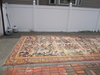 """distressed antique persian mahal rug 9' 8"""" x 16' 7"""" complete rug has patches in the back only one is repair the others are just reinforcement the rug needs cleaning came from  ..."""