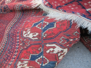 """beautiful vintage (SOLD SOLD THANKS) turkoman tekke rug full pile no worn spot collector piece excellent wool quality measures 4' 3"""" x 4' 10"""" great colors and design.SOLD THANKS"""