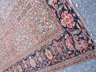 """Rare estate find antique 1880 farahan sarouk rug measuring 6' 10"""" x 9' 10"""" even dense low pile  all around both ends are missing a row or two has dry foundation  ..."""
