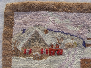 Semi-Antique American hooked rug, American Folk Art rug, hand woven, Labrador or Newfoundland, ca.1930-s, without a label we can only say Grenfell Mission type, a winter village scene in pastel colors, smoking  ...