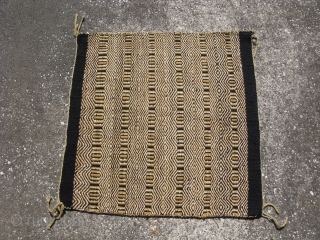 Old Navajo rug, horse saddle blanket, hand woven wool, double weave twill in yellow, black, and ivory; mid 20thC, Southwest US, general good condition, the approximate size is 33 inches x 32  ...