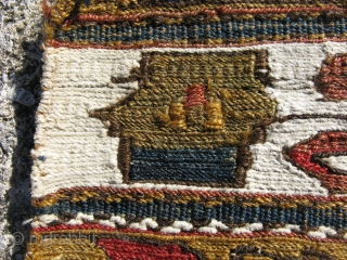Antique Caucasian Kazak soumak panel, sumak, the end panel of a rectangular bedding bad, Mafrash, bands of countered and un-countered extra weft wrapping of wool and cotton, separated by small blue bands  ...