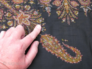 "Antique French Paisley Shawl, jacquard loomed wool, France, ca. mid 19thC, signed ""SH"" in each corner, there are several small holes, I have pointed some out in the photos, but they are  ..."