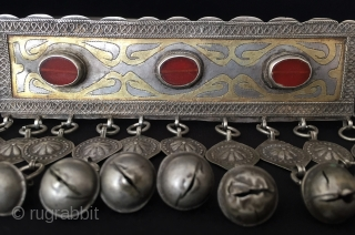 Antique Turkmen old silver necklace with beads gilded and cornalian. original ethnic tribal jewelry. Turkmen girl's using for wedding and engagement days. Circa - 1900 or earlier Size - Height : 11  ...