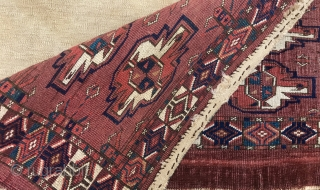 Yomud, Karadashli Torba. Great natural dyes and nice tall size: 46 cm x 106 cm.