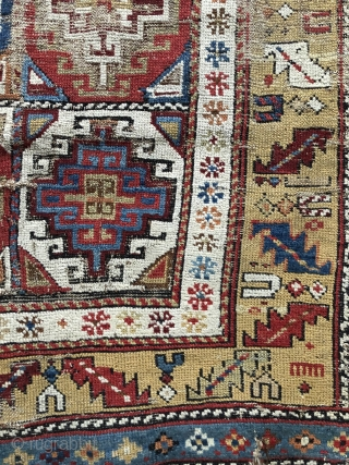 Early Shirvan rug first  half 19 c Amazing colours as one would expect  Brindled camel hair and wool warps Clean restorable   97 x 141 cm